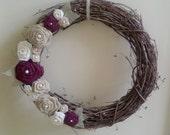 18 Inch Burlap/Burgundy Rosette Wreath and Pearls