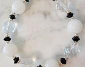 Opaque White Stone, Black & Crystal Tuxedo Bracelet Plus Size