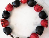 Unisex Red & Black Stone Skull Knotted Bead Bracelet with Brass Accents