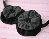 Black and Gray Flower Headband