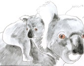 Personalized Gift Card: Mother and Baby Koala Watercolor