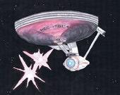 Star Trek Enterprise Firing Photon Torpedos Original Watercolor Painting