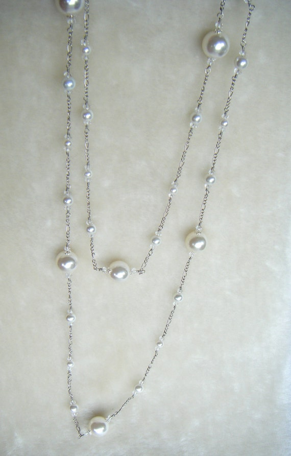 Extra Long White Glass Pearls with Clear Crystals with Silver Chain FREE SHIPPING in Canada