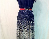 Vintage 60s Paisley Navy Blue Nautical Office Sheath Day Dress