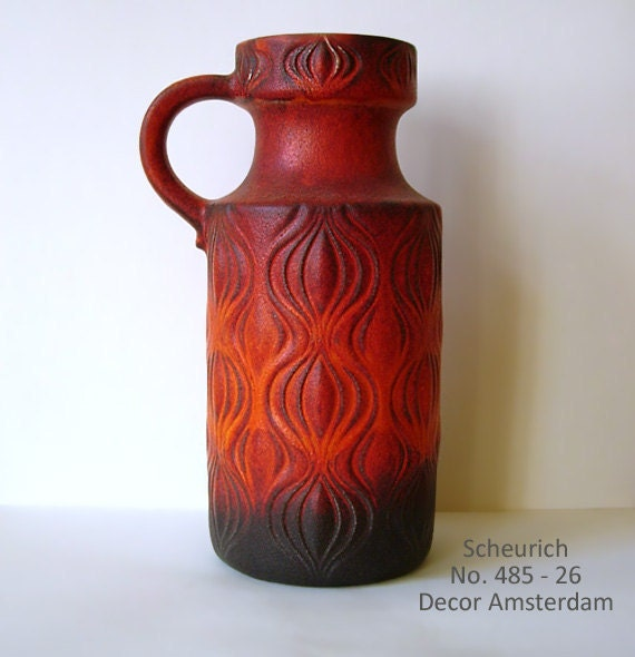 RESERVED: Chilli red glazed Vase by Scheurich // Decor Amsterdam // West German Pottery // mid century