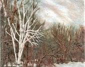 Frozen Pond, SALE PRICE encaustic painting