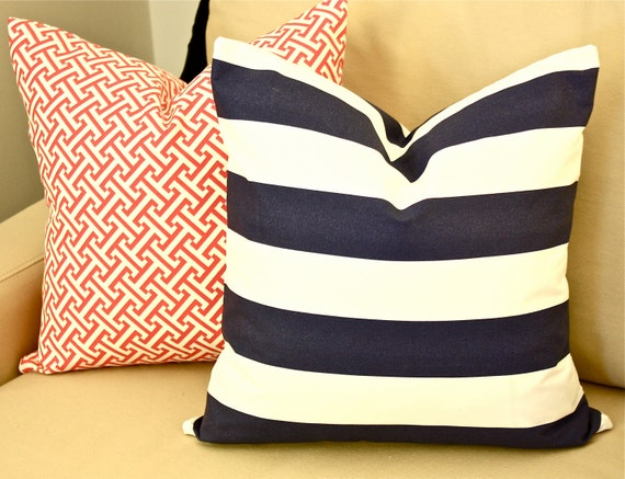 Any Size Indoor/Outdoor Pillow Cover, Navy and White Stripes