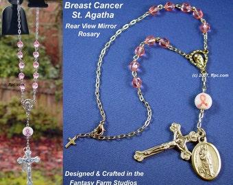 Breast Cancer - Saint Agatha Automobile Rosary