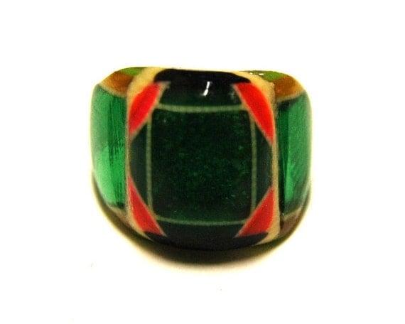 Vintage Celluloid Bakelite Folk Art Prison Ring