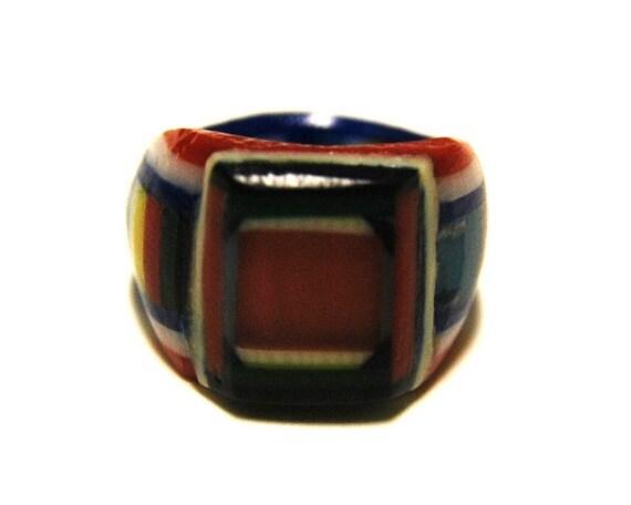 Hold for Snowshoe - Vintage Celluloid Bakelite Folk Art Prison Ring (Size 7-1/2)