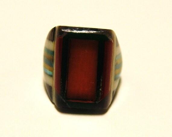 Vintage Celluloid Bakelite Folk Art Prison Ring (Size 7-1/2)