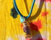 Spirit Dreams Healing Necklace - Real Flowers and Essence, Turquoise Suede