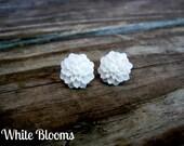 White Flower Bloom Stud Earrings