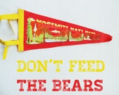 don't feed the bears - vintage yellowstone park pennant, flag, camping, nature, bear