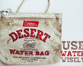 use water wisely - vintage coleman desert water bag, canvas, canteen, camping, thermos, industrial