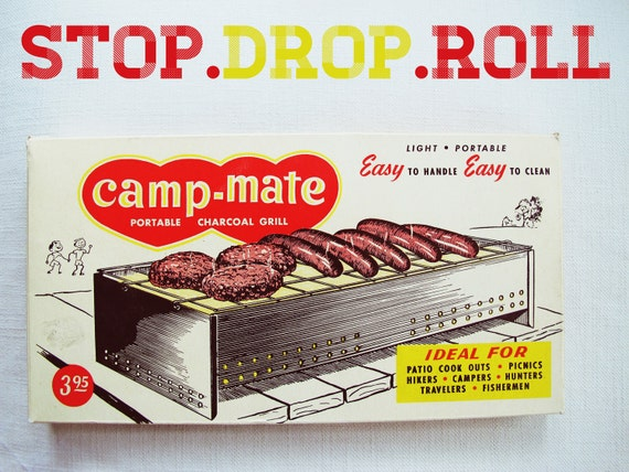 stop.drop.roll - vintage camping portable grill - camp mate, picnic, bbq, industrial