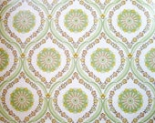 Retro Wallpaper Roll - Green Yellow Flower Hourglass Line Vintage Design 1970s Europe - A Full Roll 10m