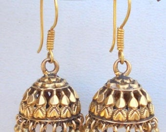 Vintage antique ethnic tribal solid 18 k Gold earring pair rajasthan india