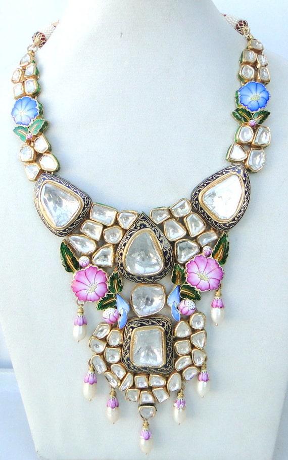 vintage antique 22 carat Gold Daimond polki kundan enamel work Necklace rajasthan india