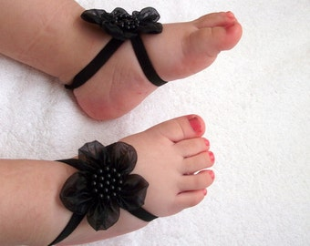 Black Flower Baby Barefoot Sandals - Baby Sandals - Barefoot Sandals-Handmade Baby Sandals with Cute Yoyo