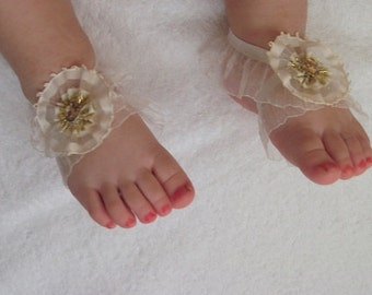 Cream Flower Baby Barefoot Sandals - Baby Sandals - Barefoot Sandals-Handmade Baby Sandals with Cute Yoyo