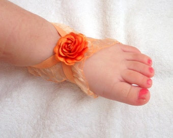 Orange Rose Baby Barefoot Sandals - Baby Sandals - Barefoot Sandals-Handmade Baby Sandals with Cute Yoyo