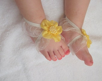 Yellow Flower Baby Barefoot Sandals - Baby Sandals - Barefoot Sandals-Handmade Baby Sandals with Cute Yoyo