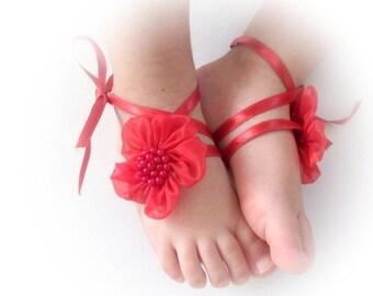 Handmade Baby Sandals with Cute Yoyo- Baby Sandals Red Flower Baby Barefoot Sandals - Barefoot Sandals