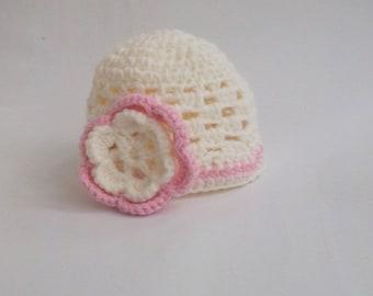 Newborn Baby  Beanie - Pale Pink with Ecru Rose Pink Flower-Newborn baby hat- Crochet hat-Baby girl  hat-