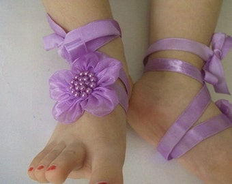 Handmade Baby Lilac Sandals with Cute Yoyo- Baby Sandals Red Flower Baby Barefoot Sandals - Barefoot Sandals