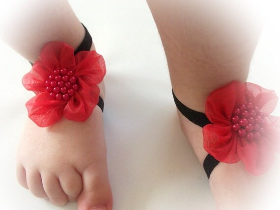 Red Flower Baby Barefoot Sandals - Baby Sandals - Barefoot Sandals-Handmade Baby Sandals with Cute Yoyo