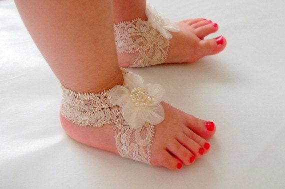 Ivory Lace Sandals Lace ◅ ▻ Baby Sandals
