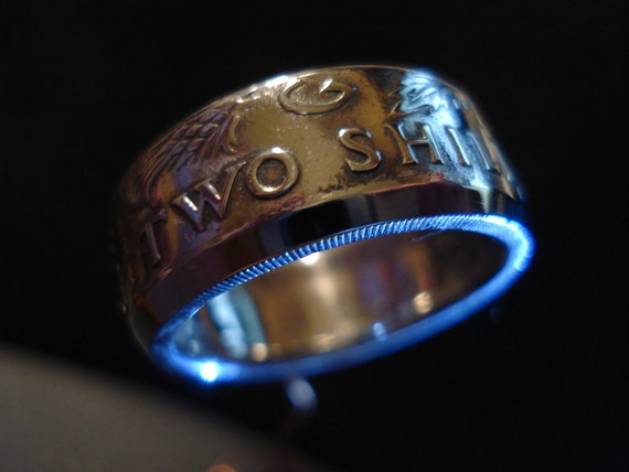 Two Shilling Coin Ring with machined bevel edge. Size 9