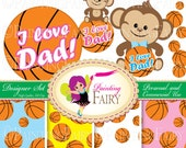 Designer Set Father's day element Cute Girl Boy Monkeys Clipart Basketball background digital paper pack Personal & Commercial use pf00026-1