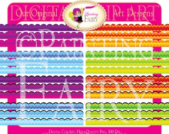 Digital Borders Scalloped Rainbow Clipart Chevron Embellishments Scrapbooking Elements DIY layout images Personal & Commercial Use pf00028-2