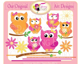 Clipart Buy 2 get 1 Free Cute Mother's Day special clip art designer layout Owls Branches digital images personal & commercial use pf00014-5
