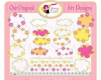 Clipart Buy 2 get 1 Free Floral Doodle Ornamented labels frames borders designer digital elements layout personal & commercial use pf00014-6