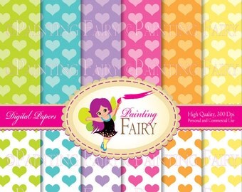 Papers Buy 2 get 1 Free 12 Papers Soft Rainbow backgrounds Colorful hearts digital paperpack layout Personal & Commercial Use pf00016-3