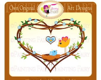 Clipart - Buy 2 get 1 Free - Cute Lovely Mom and Baby Bird love clip art Designer layout digital images personal & commercial use pf00002-1