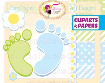 Clipart Buy 2 get 1 Free Cute boy Baby's footprints blue flowers clip art designer layout digital images personal & commercial use pf00017-3