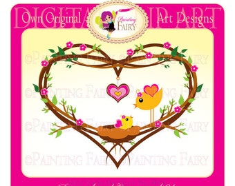 Clipart - Buy 2 get 1 Free - Cute Lovely Mom and Baby Bird clip art love designer layout digital images personal & commercial use pf00002-2