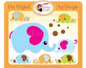 Cliparts Buy 2 get 1 Free Mom and Baby Elephant clip art Bubbles Baby Zoo designer layout digital images personal & commercial use pf00004-3