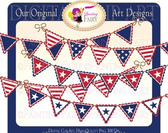Digital Clipart Happy 4th of July Bunting clip art National designer element digital images Personal & Commercial Use pf00022-4