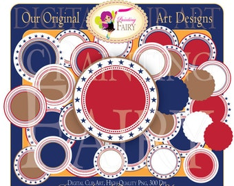 Digital Labels 4th of July background Printable Stars Red White Blue Scrapbook Stickers Personal & Commercial Use pf00022-2