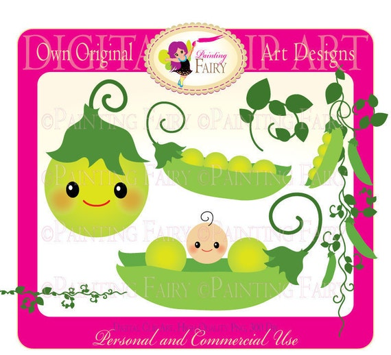 Clipart Buy 2 get 1 Free Cute New Baby peas clip art Vegetables Ornaments designer layout digital images personal & commercial use pf00012-1