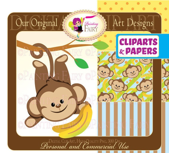 Clipart -Buy 2 get 1 Free- Lovely Cute Boy monkeys bananas zoo clip art designer layout digital images personal & commercial use pf00015-1