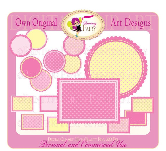 Clipart Buy 2 get 1 Free Lovely Girl Pink Circle Rectangle label clip art designer layout digital images personal & commercial use pf00007-3