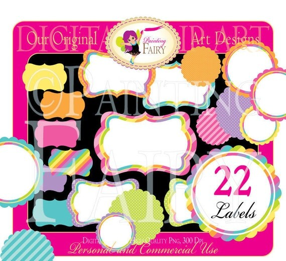 22 Digital Labels Scalloped Rainbow Fun Clipart Embellishments Frames Scrapbooking Elements DIY images Personal & Commercial Use pf00016-12