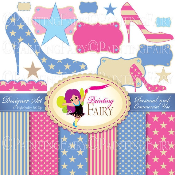 Set: Cliparts & Papers 4th of July backgrounds pack Chick shoes Labels Digital cliparts Personal / Commercial Use pf00023-1