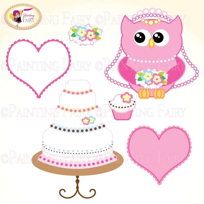 Cliparts Buy 2 Get 1 Free Lovely Wedding Owl Clip Art